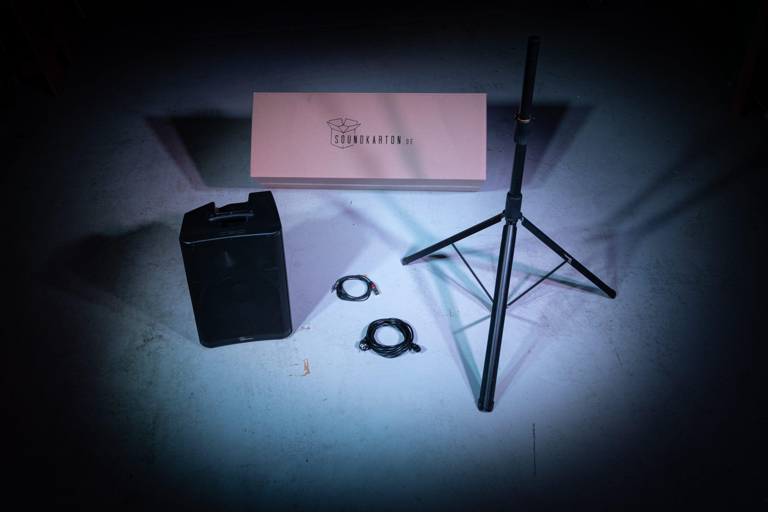 Lautsprecher, Stativ, Stromkabel, 3,5mm Klinke